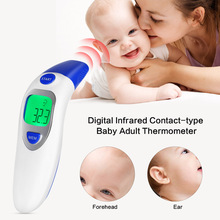 2017 New Digital Infrared Contact-type Baby Adult Thermometer IR LCD Backlit Laser Dual Mode Forehead and Ear Termometro Gun(China)