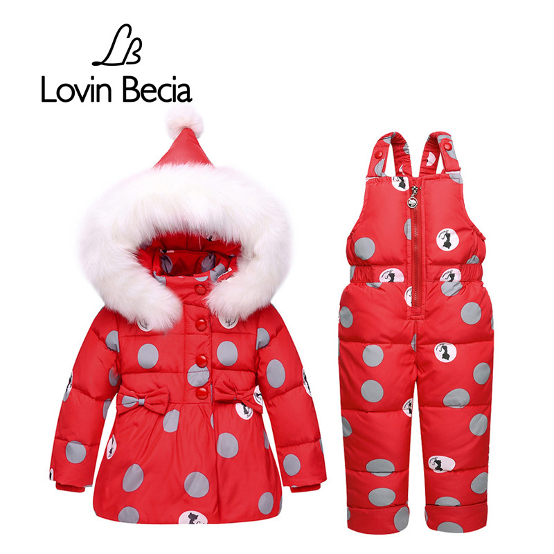 Lovinbecia Winter Children Hairball Duck Down Coat pants Overalls hooded Suits Girls Clothing Set Snowsuit Baby faux fur Clothes<br>