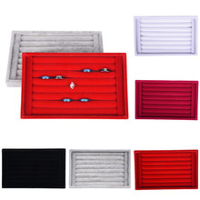 Velvet Earrings Ring Organizer Ear Studs Jewelry Display Stand Holder Rack Showcase 5 Colors 22.5*14.5*3cm(L*W*H)(China)