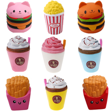 2018 Jumbo Squishies Toys Children Slow Rising Antistress Toy Cat Hamburger Fries Squishies Stress Relief Toy Funny Squeeze Toy(China)