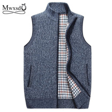 Mwxsd brand Autumn Winter men's Wool sleeveless Cardigans Vest Sweater Men Casual Cashmere knitted Waistcoat for male(China)
