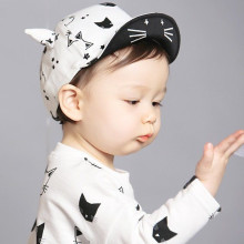 Toddler Kids Infant Sun Caps Cotton Baseball Caps 2017 New Style Cute Cartoon Cats Style New Style Caps(China)