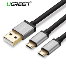 Ugreen USB Cable 2 in 1 Micro USB Fast Charging Cable for Samsung Galaxy USB Data Cable for Xiaomi Android Mobile Phone Cables(China)