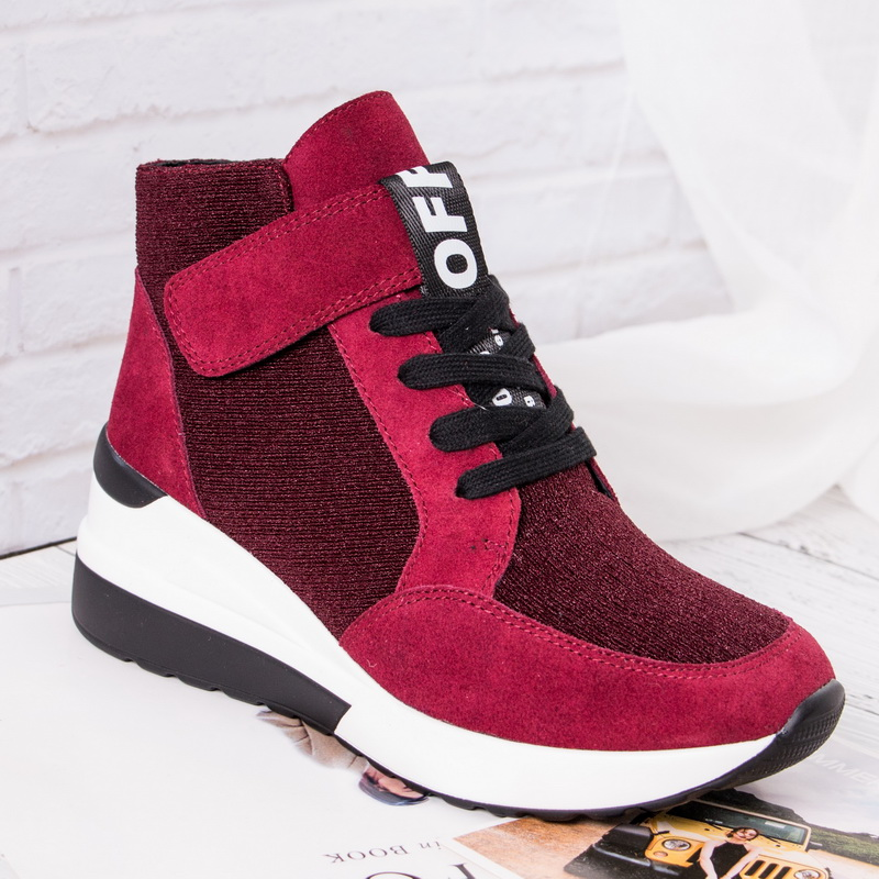 BELISS 2018 spring autumn ankle boots wedges cow suede leather platform hook loop women sneakers (6)