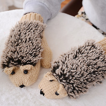 Women's Winter Gloves Without Fingers Knitting Wool Warm Mittens Fingerless Cartoon Hedgehog Gloves(China)