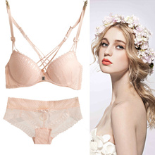 Free shipping Fashion sexy cross young girl's bra set autumn front button push up deep V-neck lace underwear set