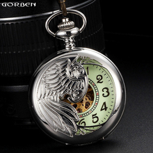 Luxury Phoenix Wing Automatic Mechanical Pocket Watches 3 Classic Color Men's Pocket Watches Luminous Dial Fob Chain Necklace