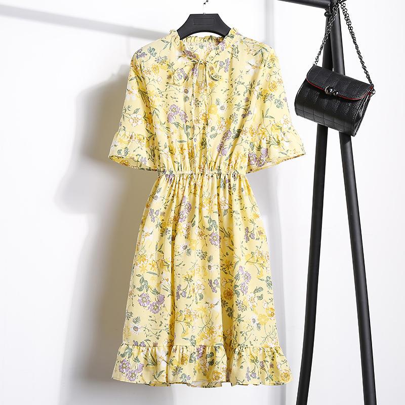 2018 Free Shipping New Fashion Floral Chiffon Summer Dresses Sweet Thin Word Slim Women Work Wear Print Dress Casual Cute Hot 19