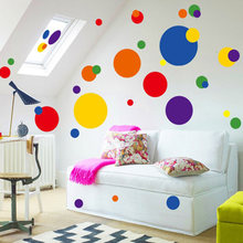 2017 Color Circle Art DIY Wall Sticker Colorful Polka Dots Bubble Bathroom Glass Kitchen Cupboard Mural Art Wallpaper Removable