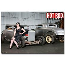NICOLESHENTING Hot Rod Muscle Car Art Silk Fabric Poster Print Classic Car Pictures For Living Room Decor 018