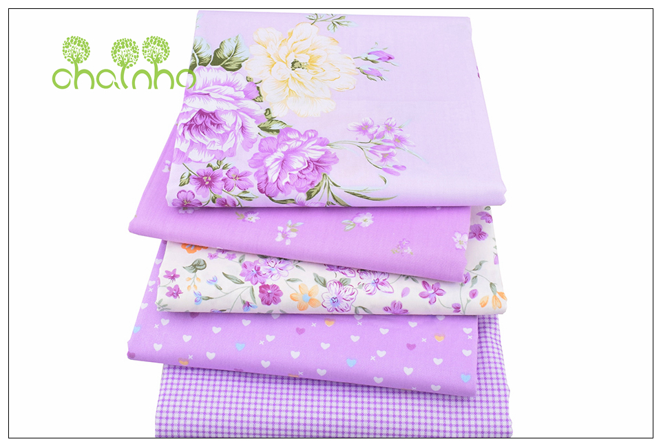 Chainho Twill Cotton Fabric,Patchwork Floral Tissue Cloth,DIY Sewing Quilting Fat Quarters Material For Baby&Children,5pcs/lot 2