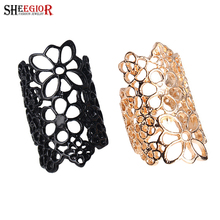SHEEGIOR Korean Lovely Hollow Flower Long Rings for Women Fashion Jewelry Gold/Black color Ring Men Accessories Bague Femme Gift