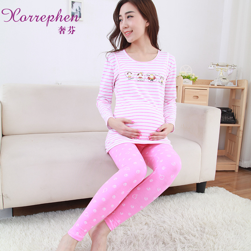 Fall pregnant women month clothing with cotton pajamas maternal postpartum feeding breast clothing out of home service<br>