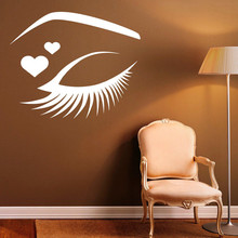 Modern Design Eyes Wall Stickers Girls Eyelashes Makeup Sticker Wall Decals Home Decor Bedroom Decoration(China)
