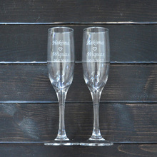 Personalized Toasting Glasses Set of 2 Bride and Groom Champagne Glasses Wedding Gift(China)