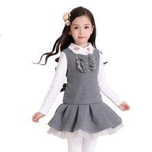 Girls Dress Winter Children`s School Clothes Kids Vest Draped Silm A-line Preppy Style for Princess Wear for 4y-10y