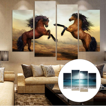4 Pcs/set Unframed Wall Canvas Oil Painting Decorative HD Printed Ocean&Wild Horse Wall Art Panel Poster Pictures Home Decor