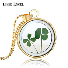 LIEBE ENGEL Gold Color Long Chain Glass Clover Dried Flower Statement Necklace Fashion Maxi Necklace Women Party Jewelry 2017