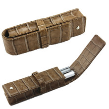 Free Shipping Double Pen Genuine Leather Pouch Case CROCODILE pattern  2 Pens Bag