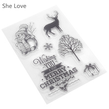 She Love Clear Stamp for Scrapbooking Merry Christmas Gift Snowman Transparent Silicone Rubber DIY Photo Album Decor