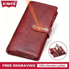 KAVIS DIY Engraving Service Genuine Leather Women Wallet Female Long Clutch Lady Walet Portomonee Rfid Luxury Brand Coin Purse(China)