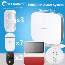 No money cost wifi alarm system with solar alarm siren 10 languages wifi security system Russia language menu(China)