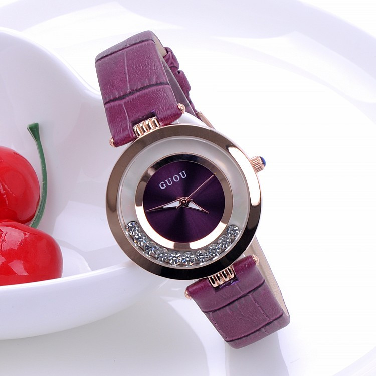 GUOU Luxury Shiny Rhinestone Watch Women Watches Glittering Leather Ladies Watch Quartz Watch Hour relogio feminino reloj mujer<br>