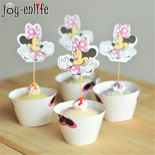 JOY-ENLIFE 24pcs Minnie Mouse cupcake wrappers toppers cake picks birthday party baby shower decorations supplies favors