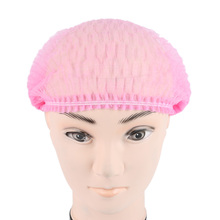 ELECOOL 100PCS/Bag Pink Elastic Disposable Shower Bath Cap Non Woven One-off Anti Dust Cap Pleated Hat Medical Food Head Cover(China)