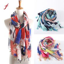 Feitong Quality Keep Warm Scarf For Women Ladies Tassel Print Pattern Soft Casual Bandana Lace Long Scarf Warm Wrap Shawls(China)