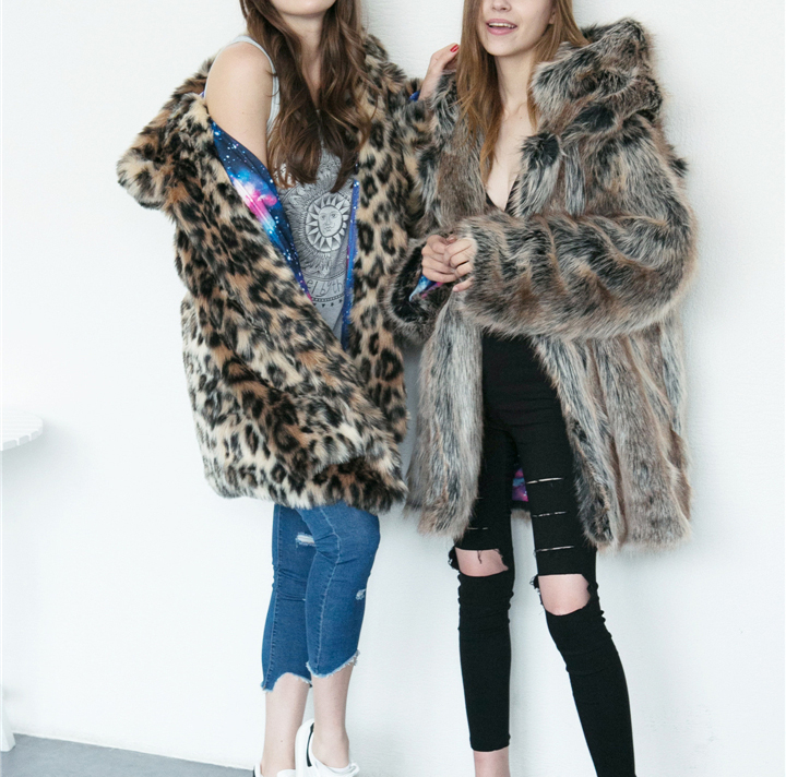 2017 autumn and winter new foreign trade popular animal ear hat imitation fur coat female wild long coat warm jacket4