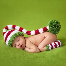 Baby Photography Props Newborn Girls Boys Wool Red and Green Christmas Hat+Legging Crochet Knit Costume Photography Prop(China)