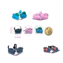 4Pairs Pusheen Cat Cartoon Girls Hairbands Cute Headwear Hair Accessories PVC+Elastic Bands Kid Gift Party Favors Hair Jewelry(China)