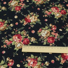 1 Meter Diy country style  Handmade fabric/classic black rose flowers printing cotton cloth patchwork fabric for sewing meter