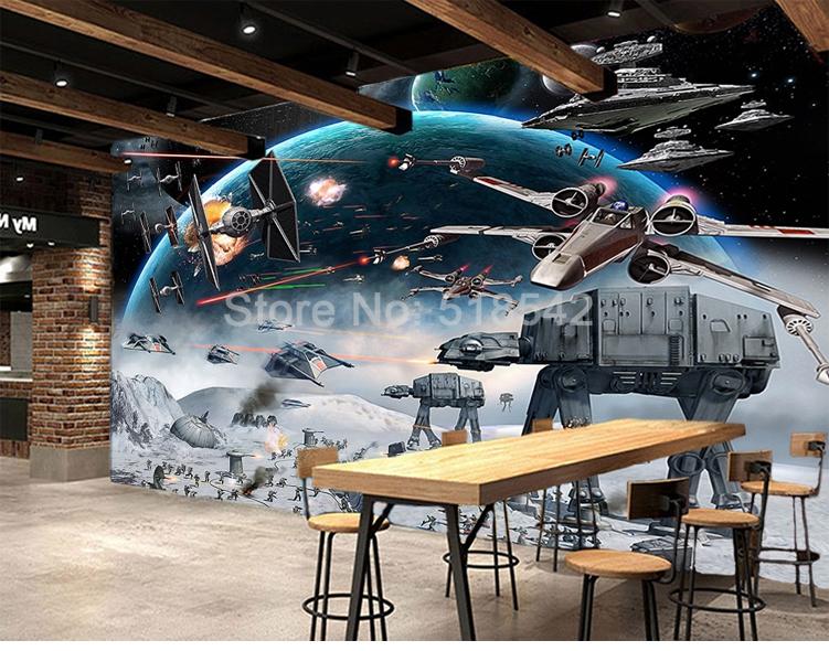 HTB1VQVtifBNTKJjSszcq6zO2VXah - Custom 3D Photo Wallpaper Cartoon Star Wars Children Room Bedroom Wall Painting Living Room Wall Mural Wallpaper For Kids Room