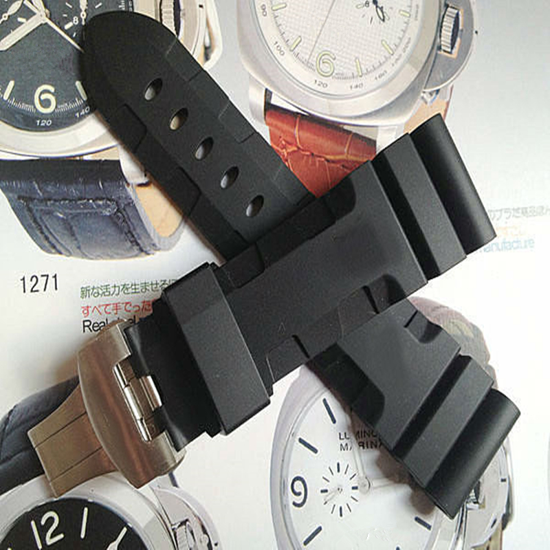TJP Luxury brands 24mm 26mm Black Waterproof Silicone Rubber Watchbands Replace Panerai PAM111 Strap Original Butterfly Buckle<br>
