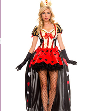 Fancy Carnival Dress Poker Queen Sexy Queen Of Hearts Halloween Costume Set For Ladies Cosplay Clothes Dress+ Crown+gloves