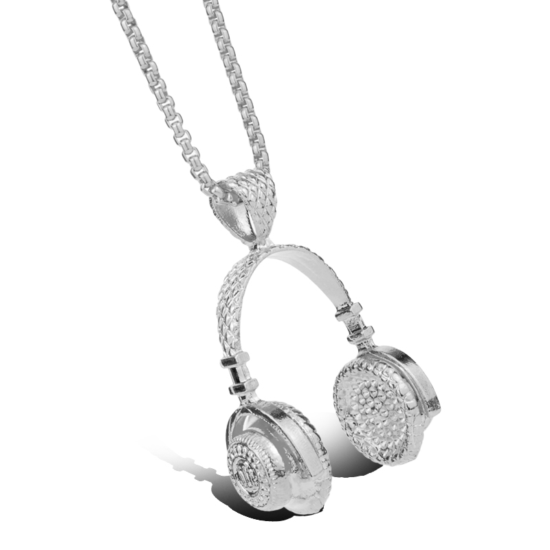Hip Hop Schmuck DJ Wireless Kopfhörer Herren Edelstahl Anhänger Halskette