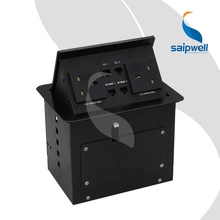 Compact small pop up table socket outlet boxes with 2 British Socket 2 RJ11 Telephone plug base &2 RJ45 network socket SPM-404UK