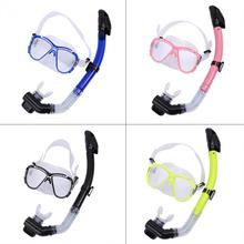 Full Dry Swim Diving Scuba Anti-Fog Goggles Tempered Glass Diving Mask with Liquid Silicone Mouthpiece For Snorkeling(China)