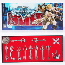 12pcs/set Kingdom Hearts Sora Keyblade Cosplay Metal Necklace Keychain Pendants Figures Toy Box Package Free Shipping