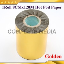 80mmx120M Golden Color Hot Stamping Foil Heat Transfer Napkin Gilding PVC business Card Emboss