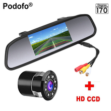Podofo 4.3 inch Car Rearview Mirror Monitor Rear View Camera CCD Video Auto Parking Assistance 8 LED Night Vision Reversing(China)