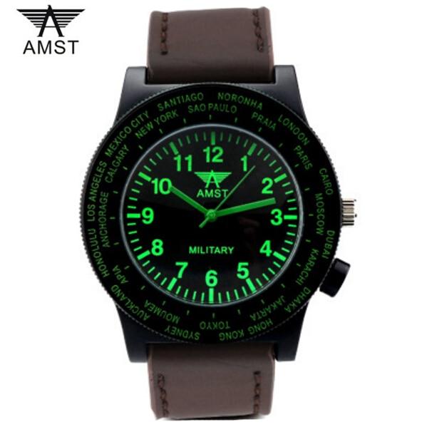 Best selling AMST Brand Fashion Men Watches Luminous leather starp 50M waterproof Military Mens Quartz Watch Wristwatches<br><br>Aliexpress