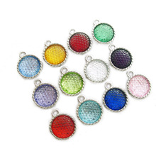 10pcs/lot Birthstones 15*18mm Dangle Pendant Hang Charm Fashion Jewelry Fit Necklaces bracelet skey chains mobile phone straps(China)