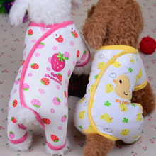 Thin Cotton Pet Dog Clothes Small Dog Pajamas Jumpsuit Puppy Apparel Cute Strawberry Duck Dog Sleepwear Romper Rose Yellow XS-XL