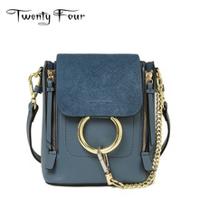 Twenty-four 2017 Women Faye Flap Bag Chains Genuine Leather Female Ring Shoulder Bag Fashion Trend Sling Bag Mochila Small Solid