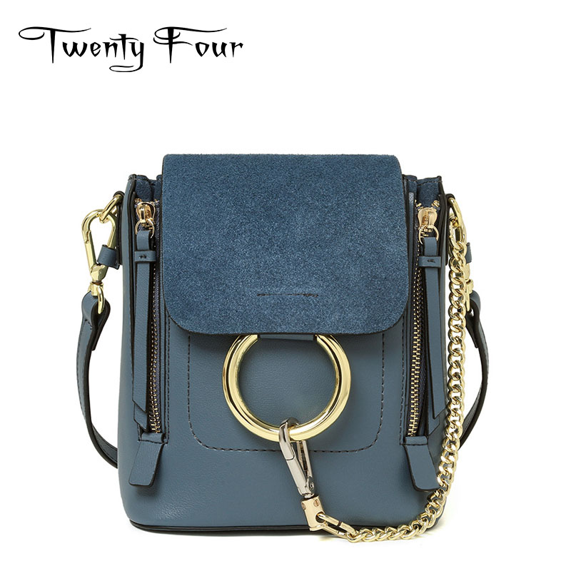 Twenty-four 2017 Women Faye Flap Bag Chains Genuine Leather Female Ring Shoulder Bag Fashion Trend Sling Bag Mochila Small Solid<br><br>Aliexpress