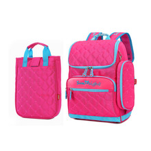 girl school bag set lunch box case Korean style elementary school backpack hot pink cute pencil case fashion bookbag for kids
