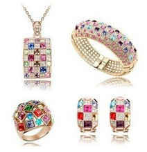 JS S096 Queen Jewelry Sets High Quality Luxury Necklace Sets Nickel Free Multicolor Jewellery Sets